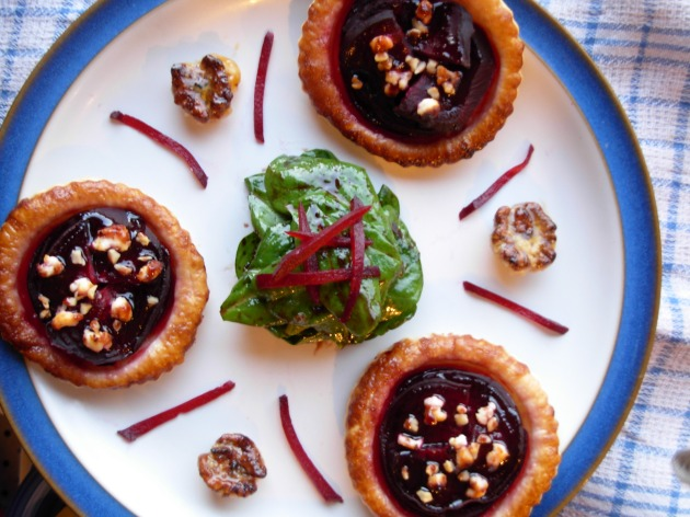 beetroot and bramble tartlets