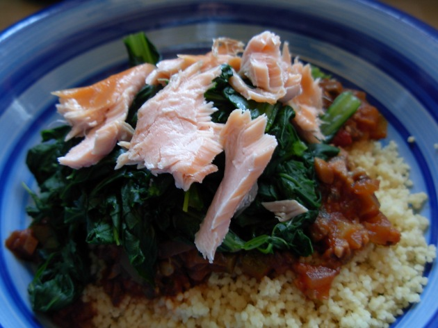 komatsuna and salmon couscous