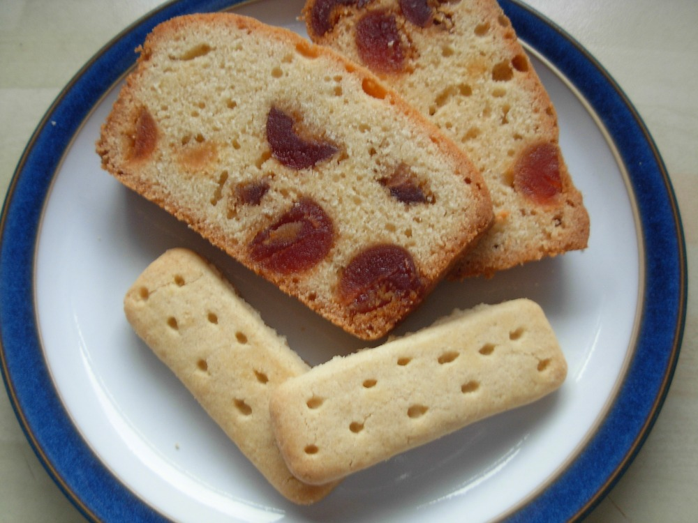 Cherry cake and shortbread