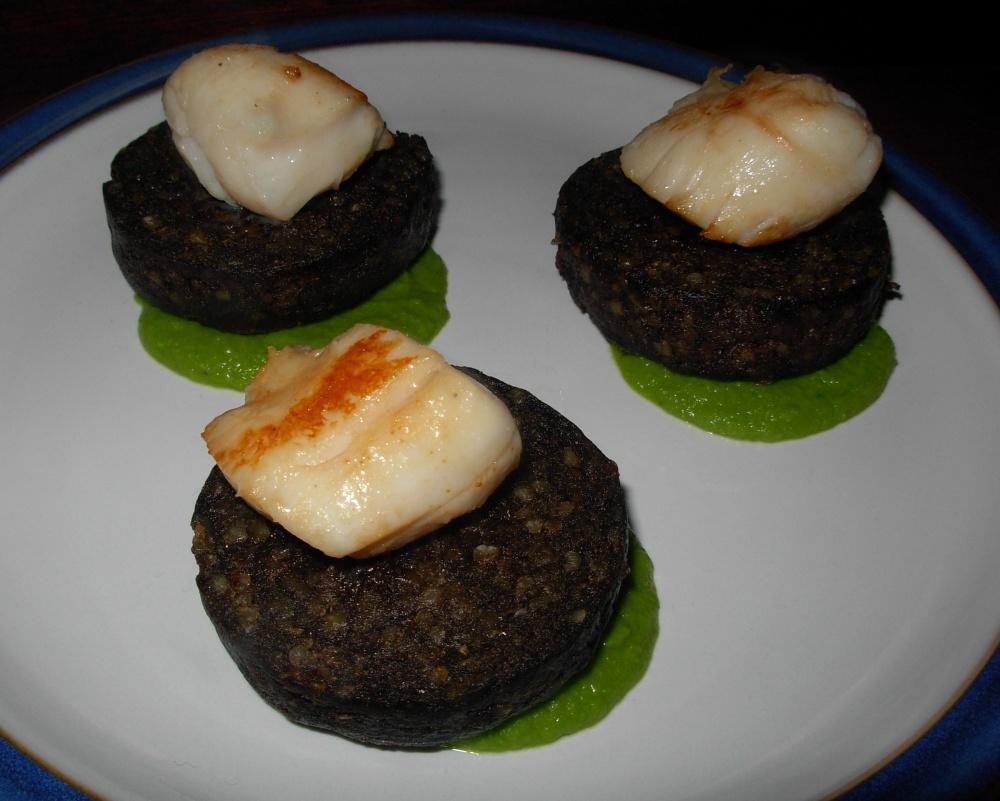 Haggis and scallop on pea puree