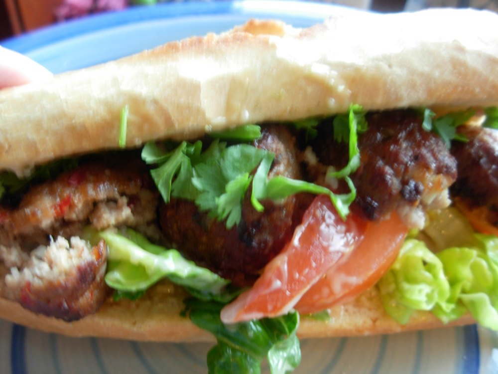 Pork meatball baguette